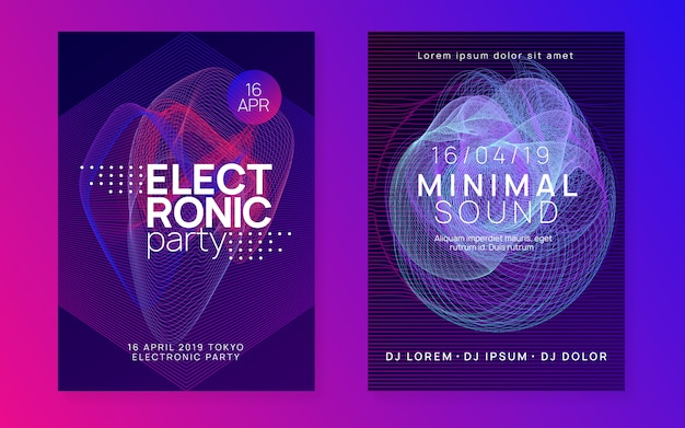 Abstract music flyer. techno dj party. electro dance event. electronic trance sound. club poster.