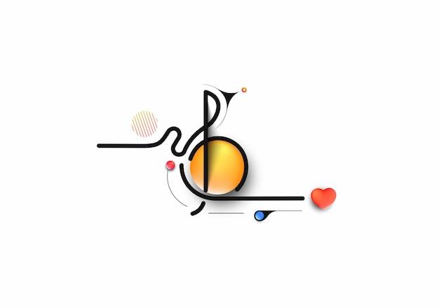 抽象音符バナーデザイン、フラットラインアートベクトルイラスト。