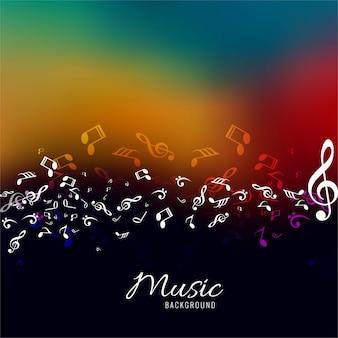 音楽のカラフルな背景のための抽象的な音楽ノートデザイン