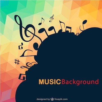 Abstract music notes triangle background