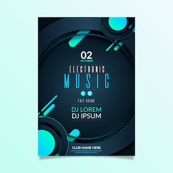 Abstract music party event invitation flyer