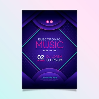 Abstract music party event invitation poster