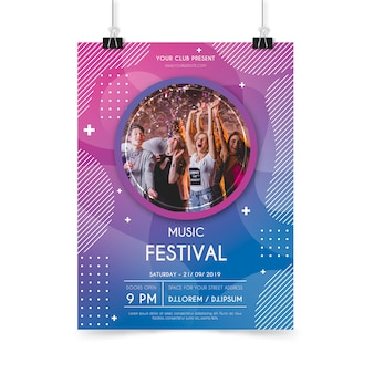 Abstract music party poster template
