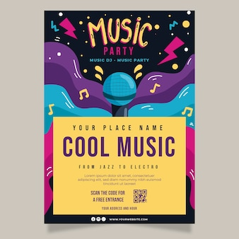 Abstract music party poster with microphone