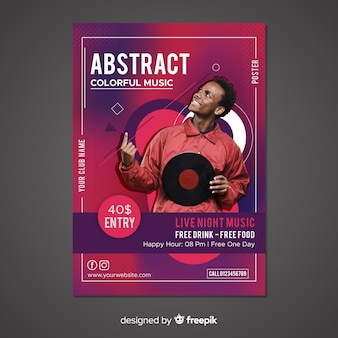 Abstract music poster template with photo