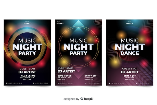 Abstract music poster with light effect template