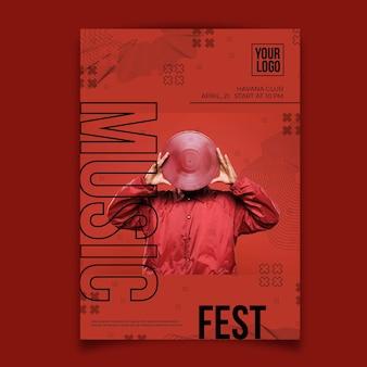 Абстрактный музыкальный постер с фотографией