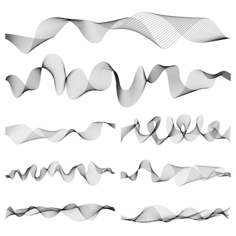 Abstract music sound waves pulse vector set