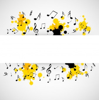 Abstract musical background with blank sign