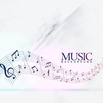 Abstract musical background with notes wave