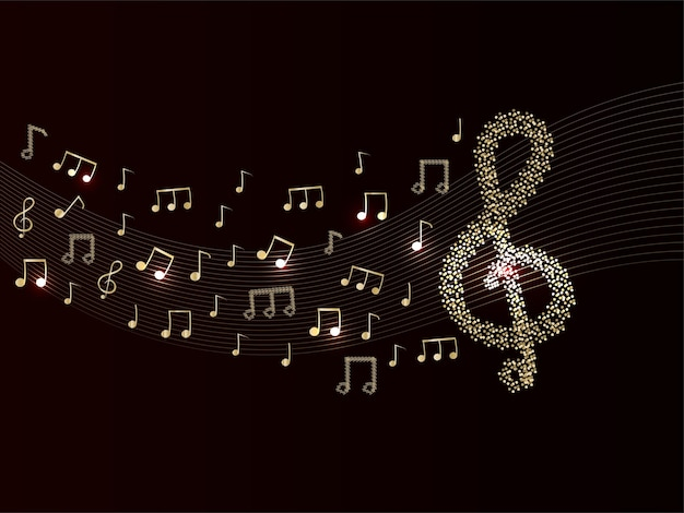 Abstract musical notes background in brown and golden color.
