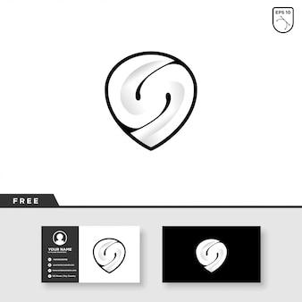 抽象的なn文字ロゴデザインと名刺テンプレート