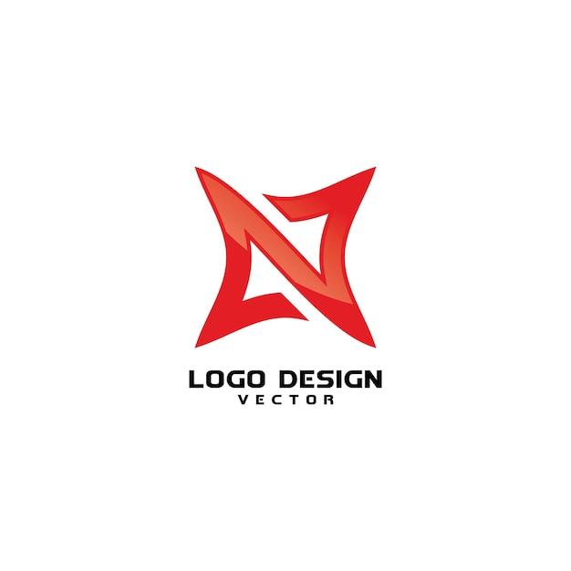 抽象的なnシンボルロゴデザインベクトル