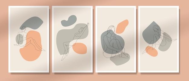 추상 벌거 벗은 여자 포즈 한 줄 포스터 boho potrait 커버 중반 세기