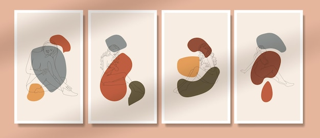 Abstract naked woman pose one line poster boho potrait covers mid century