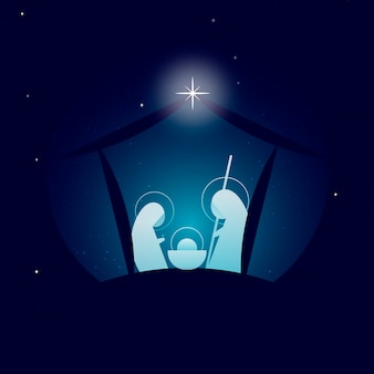 Abstract nativity scene with star