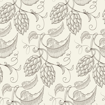Abstract natural botanical sketch seamless pattern