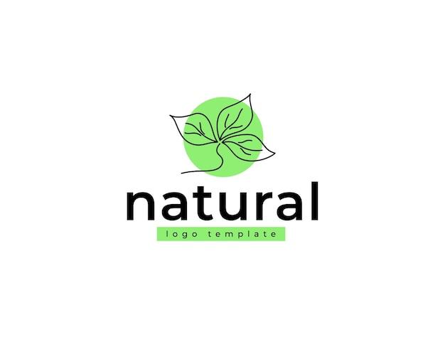 抽象的な自然植物は緑のフラットカラーでロゴを残します