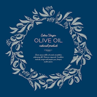 Abstract natural sketch blue poster with round wreath from olives tree branches and text