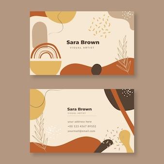 Двухсторонняя горизонтальная визитка с абстрактным характером