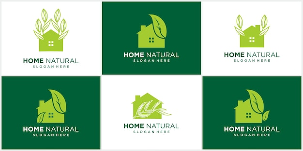Абстрактная природа дом дизайн логотипа набор оставляет в негативном пространстве логотип