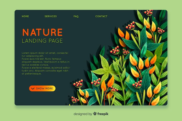 Abstract nature landing page template
