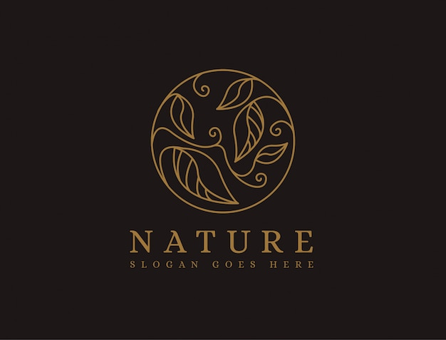 Abstract nature leaf lineart logo template
