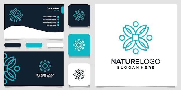 Абстрактная природа логотип и шаблон визитной карточки