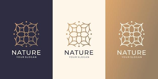 Набор дизайн логотипа абстрактный характер. цветочная роза натуральный спа-логотип для моды, ухода за кожей, минимализма.