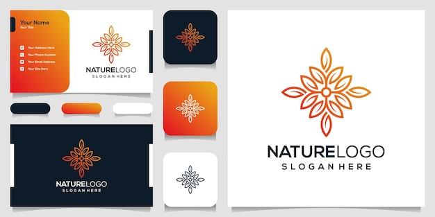 抽象的な自然のロゴのデザインテンプレートと名刺