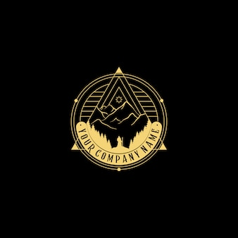 Abstract nature logo. geometric badge. outline icon of abstract shapes pyramid, man looking a big mountain