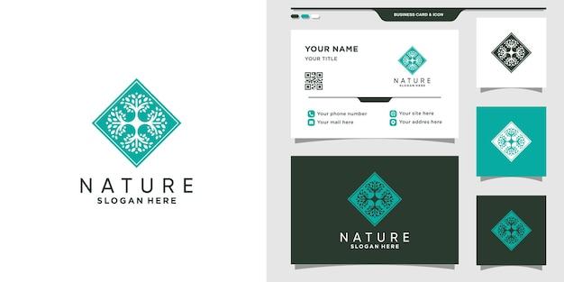 創造的なコンセプトと名刺と抽象的な自然のロゴ