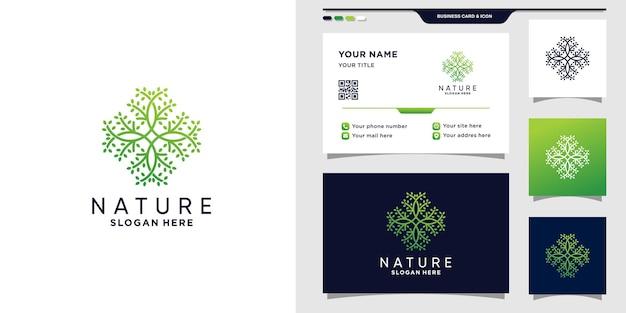 Абстрактная природа логотип с линией арт-стилем и дизайном визитной карточки