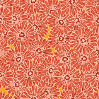 輪郭を描かれた赤いひまわりと抽象的な自然のシームレスなパターン