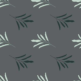 Abstract nature seamless pattern with herbal simple leaf branches shapes