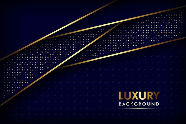 Abstract navy blue overlap layers golden line with circle mesh pattern and golden glitters dots luxury background