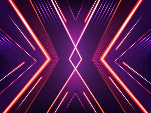 Абстрактный неоновый фон. яркий светящийся узор из ксеноновых красных, фиолетовых и розовых ламп.