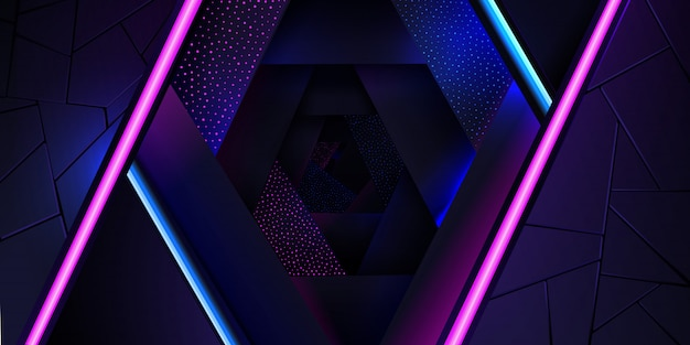 The abstract neon background with a blue and pink light line and a dots texture.