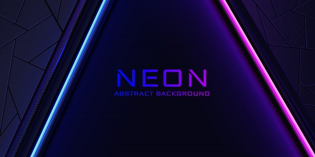 The abstract neon background with a blue and pink light line and a texture