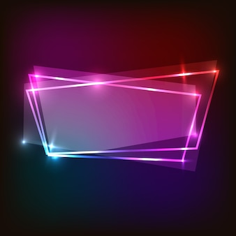 Abstract neon background with colorful banner