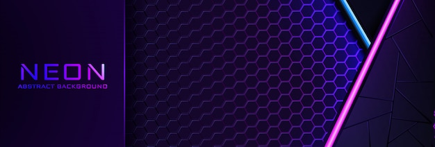 Abstract neon background with violet light, line and texture.  banner  in dark night colour