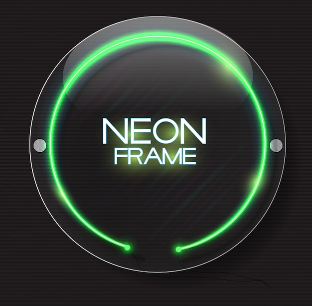Abstract neon frame  on dark  background