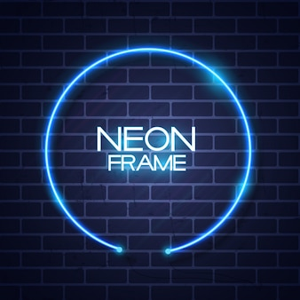 Abstract neon frame template on brick wall texture