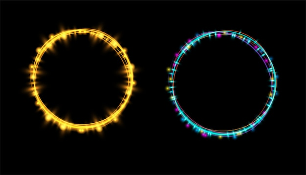 Abstract neon glowing light effect at transparent