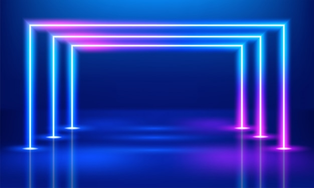 Abstract neon glowing pink and blue lines background