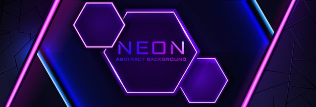 Abstract neon infographic background with violet light, line and texture.  banner  in dark night colour