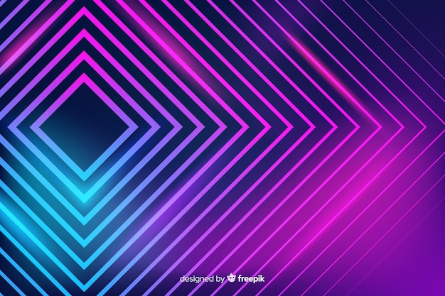 Abstract neon light lines background