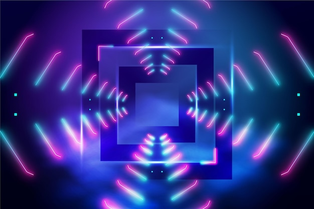 Abstract neon lights with square in the middle background