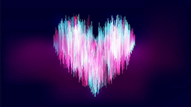 Abstract neon-like style, colorful gradient blue white pink heart shape on gradient dark blue purple