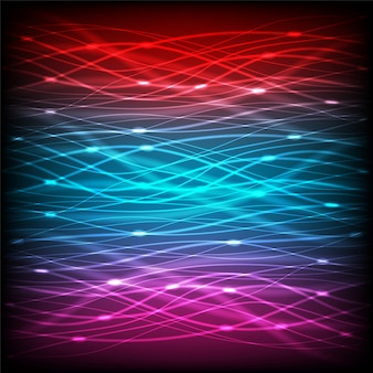 Abstract neon of multicolor lines with glare